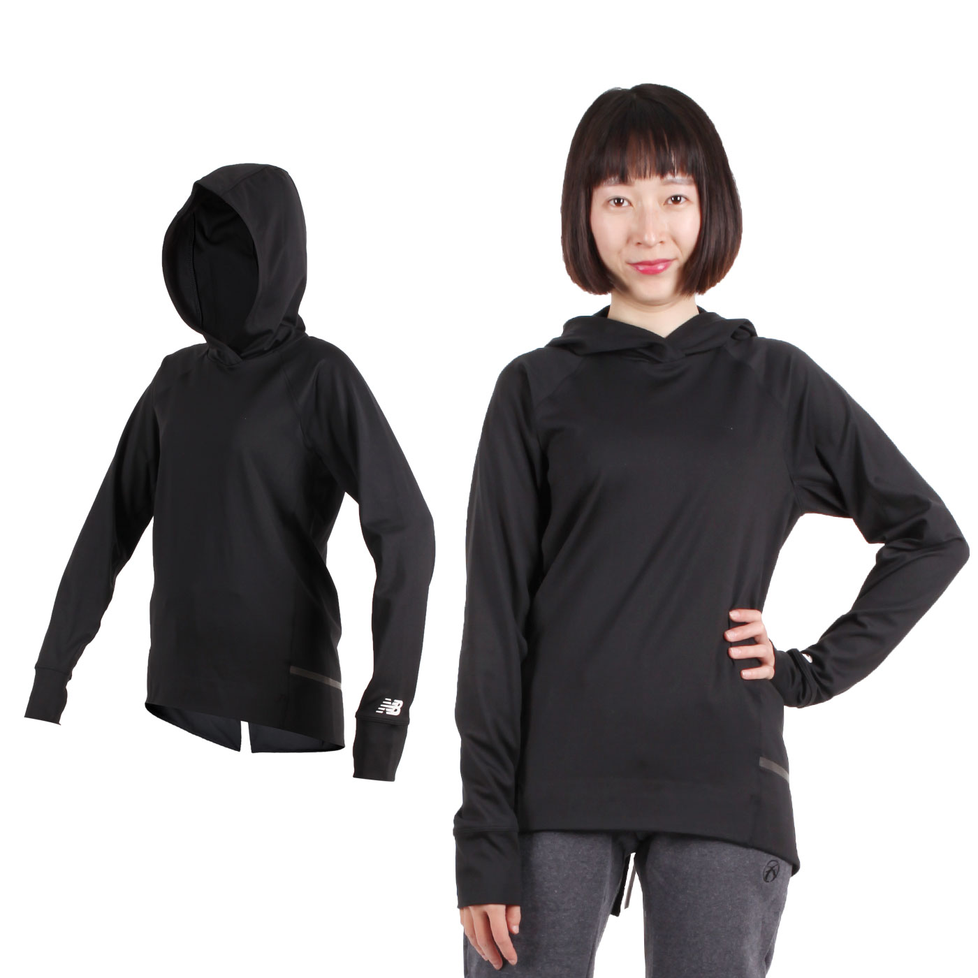 NEW BALANCE 女款長袖連帽T恤 WT91502BK - 黑
