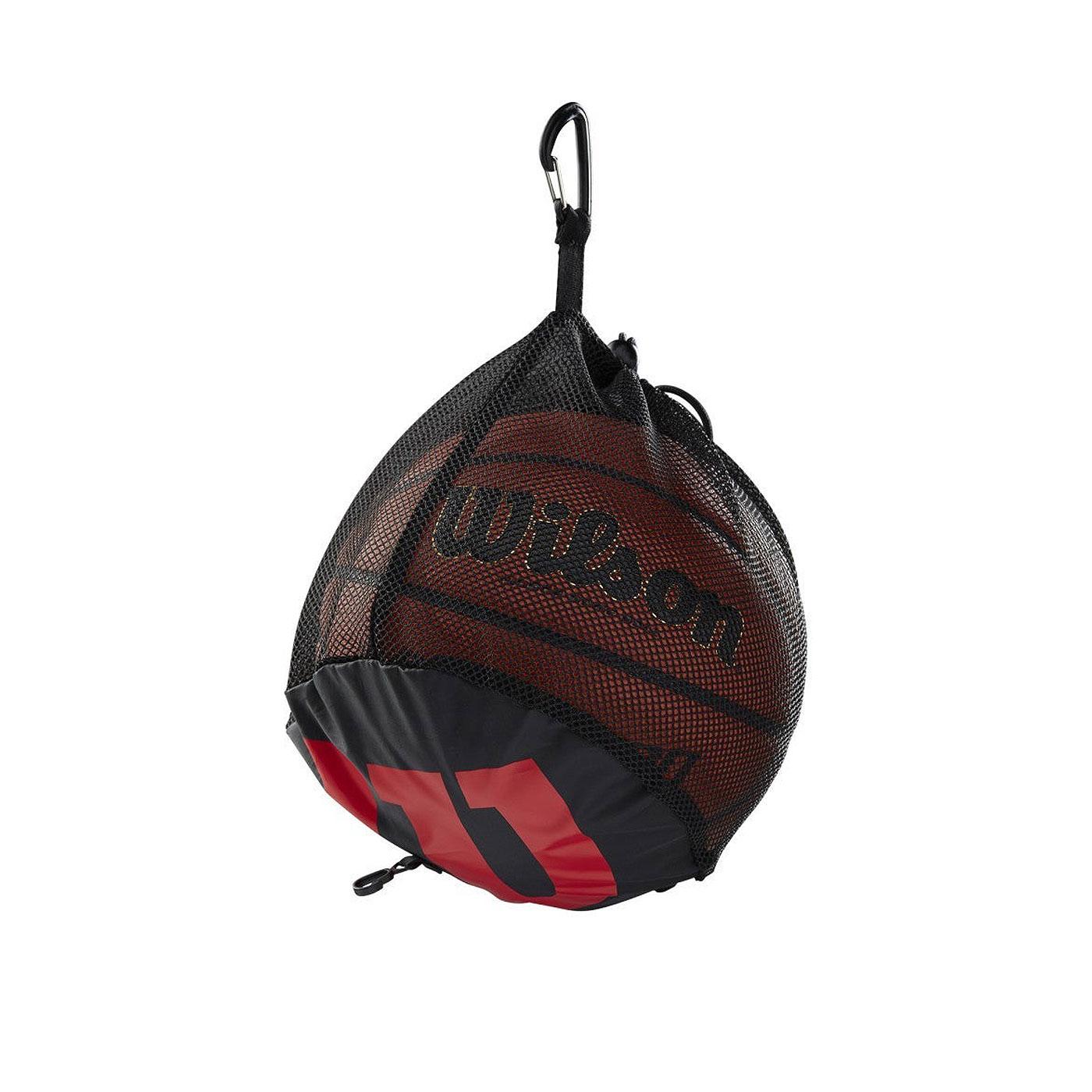 WILSON 單顆裝籃球網袋 WTB201910 - 黑紅