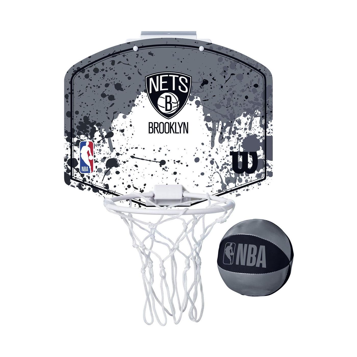 WILSON NBA 迷你籃板 21'籃網隊(含小球) WTBA1302BRO - 灰白黑